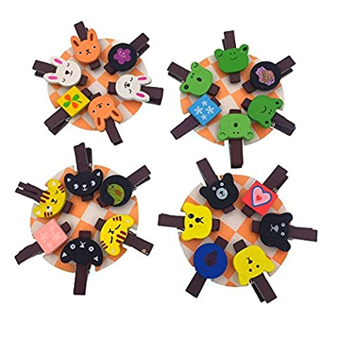 CECII 12pcs/set Wooden Animal Clips, Pinch Photo Display Clips. Your Best Friends in the Home or Office (Random Selected - Log Seven Drawer Dresser