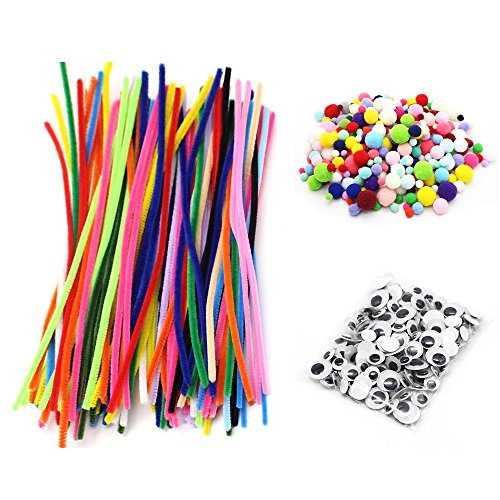 The Costumes Greatest Ever (450pcs/lot Pipe Cleaners Chenille Stem and Pompoms with Googly Wiggle Eyes for DIY Crafts Decorations (Style)