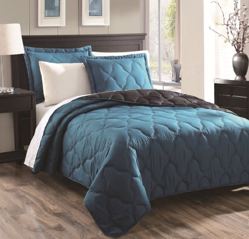 Chic Home Parker 3-Piece Oval Quilt Set, Teal, Queen