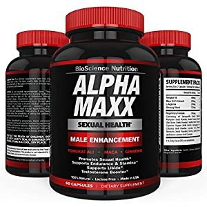 AlphaMAXX Male Enhancement Supplement | Enhancing Libido, Drive, Performance, Boost Testosterone | Ginseng Muira Puama Tribulus 60 Herbal Pills | BioScience Nutrition by BioScience Nutrition
