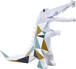 HomeBerry Crocodile Figurine Sculpture Statue Animal Home Decor Gift Decoration Arts Crafts Hand Painted Polyreisn 27cmL