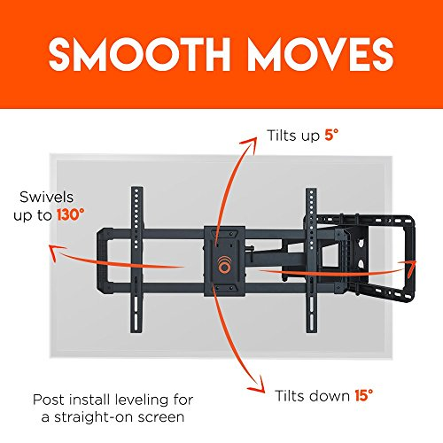 ECHOGEAR Full Motion Articulating TV Wall Mount Bracket for 42″-80″ TVs – Easy to Install On 16″, 18″ or 24″ Studs & Features Smooth Articulation, Swivel, Tilt – EGLF2