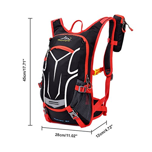 Jarvan Cycling Backpack,18L Water resistant Ultralight Breathable Bicycle Backpack For Outdoor Sports Running Travelling Mountaineering,Bike Rucksack with Helmet Net,Phone Bag, Rain Cover (Red)