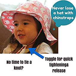 Toddler Sun Hat with Chin Strap, Drawstring Adjust Head Size, Breathable 50+ UPF (Discontinued by Manufacturer) (M: 6m - 3Y, Beige)