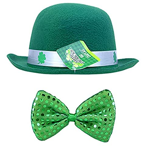 St. Patrick's Day Set: Green Derby Hat with Green Sequined Bow Tie (Elsa Palace Throw)