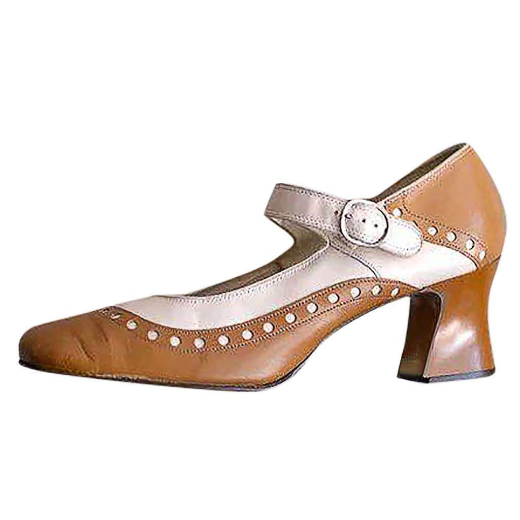 auroraX Sandals Womens Summer Single Flat Shoes Ladies Outdoor Non-Slip Bow Buckle Strap Party Elegant Shoes Pumps High Heel Sandal QAQ (Brown, US:6.5)
