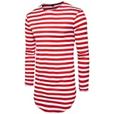 NiuZi Men's Retro Black & White Striped Hipster Hip Hop Ripped T Shirt Short/Long Sleeve Round Hemline Causal T-Shirt (Red Withe, S)