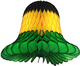 product image for 3-Pack 15 Inch Honeycomb Tissue Paper Wedding Bell Party Decoration (Jamaican - Black/Yellow/Green)