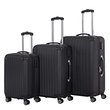 3 Pieces Spinner Luggage Sets black Suitcase Sets Hardshell Lightweight ABS Travel Luggage Trolley Cases(3 Piece Set, 28inch + 24inch + 20inch Cabin Size Carry On)