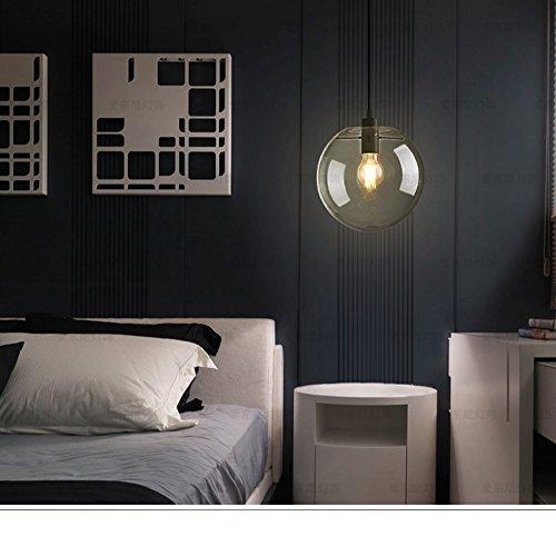 E27 Industrial clear Glass Globe Shade Pendant Light Modern Kitchen LOFT Hanging Light-1 Light (20cm) (Rose Light Pendant Glass)