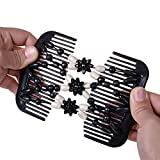 Lovef Easy Magic Wood Beads Double Hair Comb Clip Flower Stretchy Women Hair