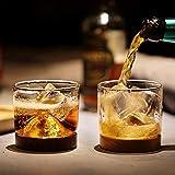 7oz Small Mountain Irish Whiskey Glasses Set Scotch Bourbon Cups High Borosilicate Glass Whisky Thumbler With Walnut Mat Base(Set of 2).