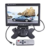 "7"" HD 800*480 TFT LCD Color 2 Video Input Car RearView Headrest Monitor DVD VCR Monitor With Remote and Stand & Support Rotating The Screen"