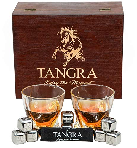 WHISKEY STAINLESS STEEL STONES LUXURY GIFT SET of 8 Ice Cubes. Reusable Chilling Rocks Large Scotch Glasses in Premium Wooden Box. Cool Gift Sets for Men, Father, Dad by TANGRA