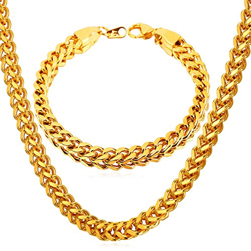 U7 Hip Hop Jewelry Set 18K Gold Plated 6mm Wide Curb Wheat Chain Necklace & Link Bracelet