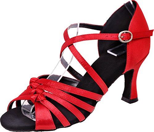 Vimedea Womens Comfort Knot Latin Tango Cha-Cha Swing Ballroom Party Wedding Sudue Sole Kitten Heel Satin Dance Shoes Red egeIpTwv3Y