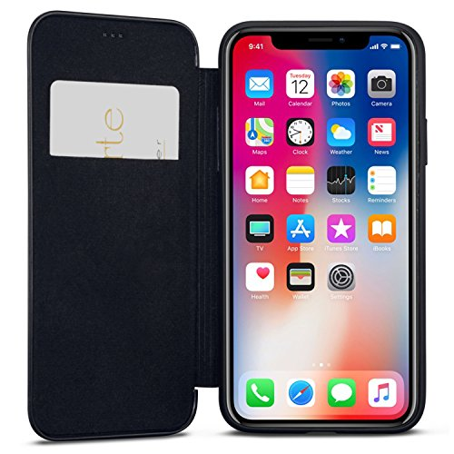 (iPhone XR Flip Case Black - CASEZA Dublin PU Leather Case - Premium Vegan Leather Wallet Book Folio Cover for The Original iPhone XR / 10R (6.1 inch) - Ultra Thin with Magnetic Closure)