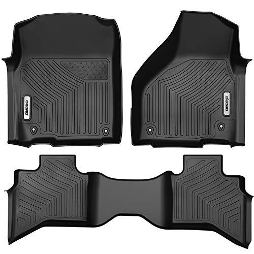 oEdRo Custom Fit Floor Mats for Quad Cab 2012-2018 Dodge Ram 1500/2019 Dodge Ram 1500 Classic Models, All Weather Front & 2nd Seat Floor Liners