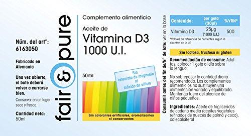 Aceite de Vitamina D3 1000 U.I. - 50ml - en gotas - 1600 gotas: Amazon.es: Salud y cuidado personal
