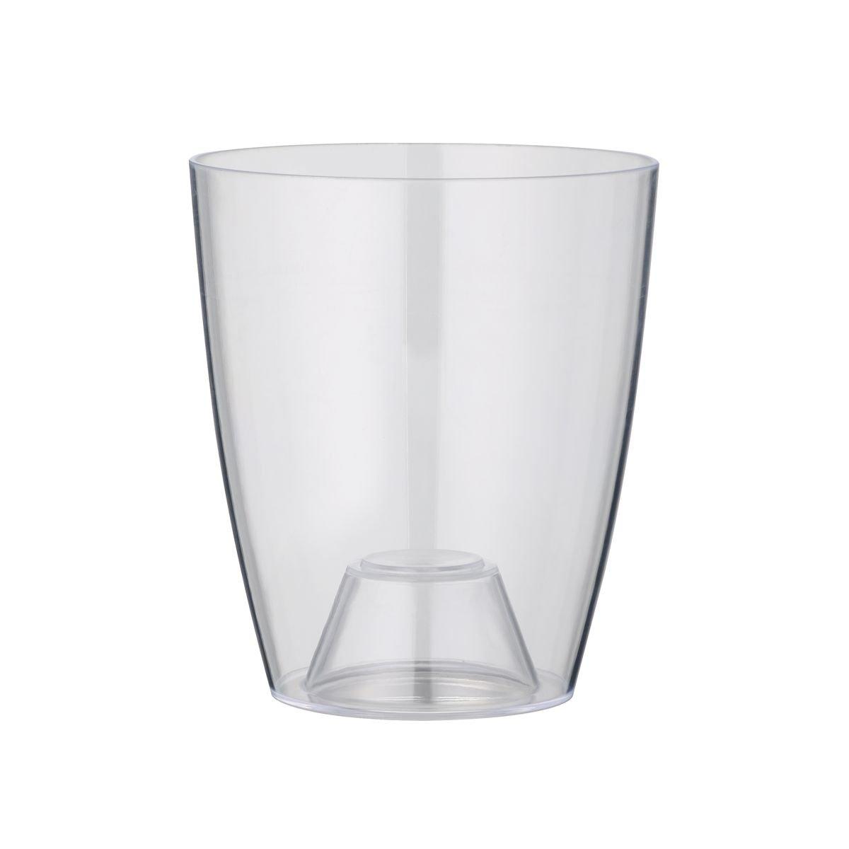 greemotion Pot à orchidée transparent Ornella de 13 cm de diamètre - Pot à fleurs élégant en plastique pour l'intérieur - Petit pot de fleurs zen aux lignes modernes Testrut DE GmbH 124378