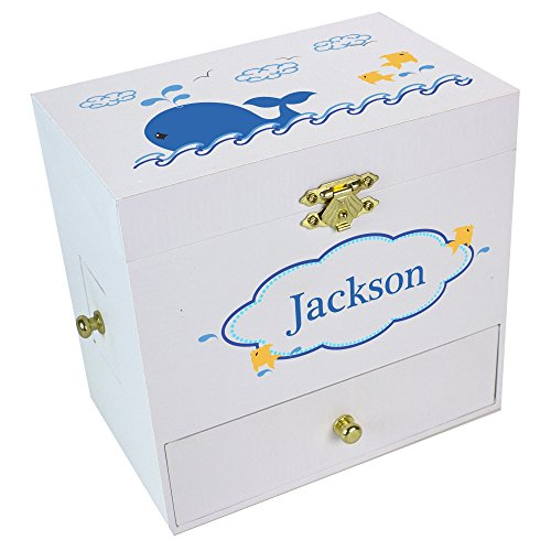 Blue Music Box Vine (Personalized Blue Whale Deluxe Musical Ballerina Jewelry Box)
