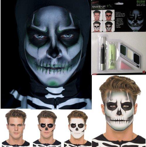 Halloween Glow GID Skeleton Skull Face Paint Make Up Fancy Dress Costume Kit by Star55