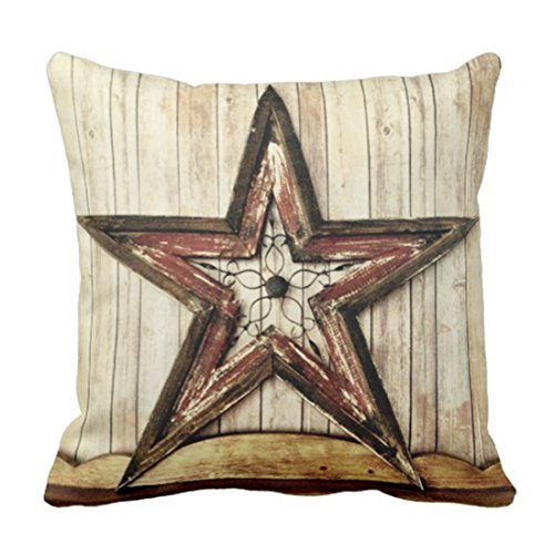 Emvency Throw Pillow Cover Wooden Rustic Country Western Star Barn Cabin Decorative Linen Pillow Case Home Decor Square 18 x 18 Inch Pillowcase