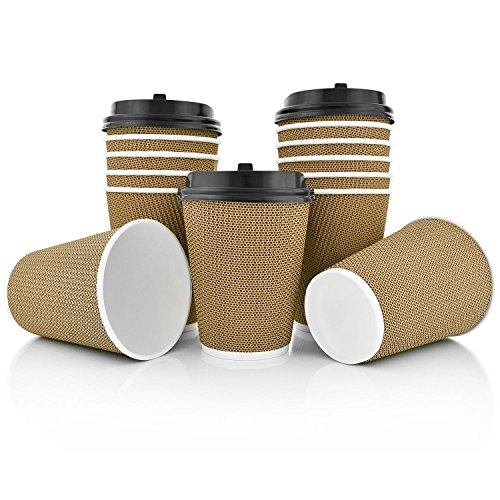 OzBSP Premium Disposable Paper Coffee Cups with Lids 12 oz - 100 Pack   Stylish Ripple Wall Design   Double Wall Insulated Hot Cups To Go   No Sleeve Required - Ripple Design