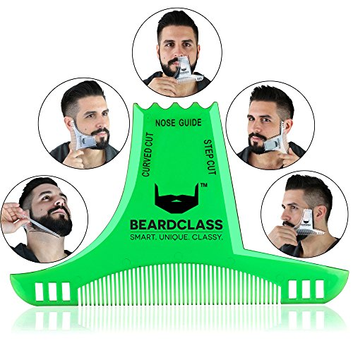BEARDCLASS – Beard Shaping Tool – 6 in 1 Comb Multi-liner Beard Shaper Template Comb Kit Transparent – Bonus Items Included – Works with any Beard Razor Electric Trimmers or Clippers – (Green)