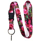 Buttonsmith Waldmueller Roses Premium Lanyard with Buckle and Flat Ring - Made in The USA