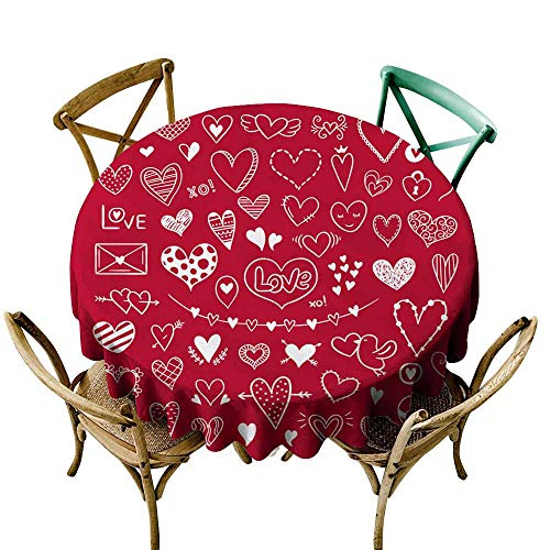 SKDSArts Vintage tablecloths Hand Drawn Hearts Illustrations for Valentine s Day and Weddings Cute Love Clipart D36,Round Tablecloth ()