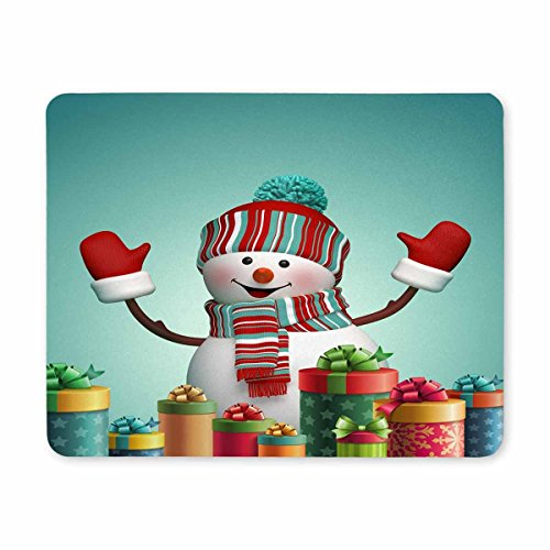 InterestPrint Happy Snowman and Wrapped Christmas Gifts, Winter Holiday Symbol Rectangle Non-Slip Rubber Mousepad