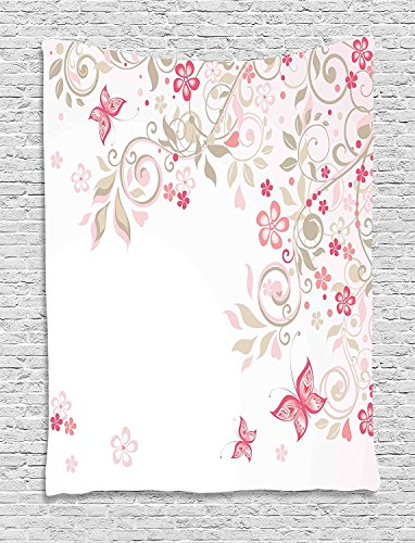 asddcdfdd Floral Tapestry, Curly Branches Wildflowers Butterflies Dots Romantic Bridal Wedding Theme, Wall Hanging for Bedroom Living Room Dorm, 60WX80L Inches, Pink Cocoa Light Pink