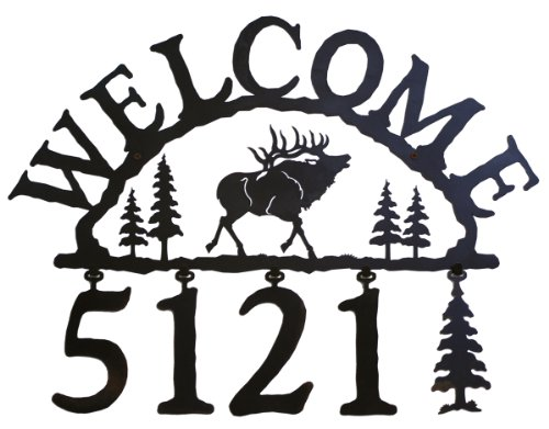 Rustic Lodge Elk Handcrafted Iron Welcome and Address Sign