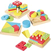 Joyin Toy 4 in 1 Wooden Educational Shape Color Sorting Puzzles Preschool Stacking Block Toddler Toys