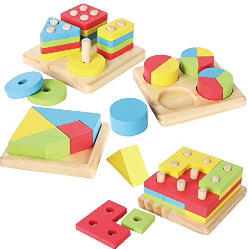 JOYIN Toy 4 in 1 Wooden Educational Shape Color Sorting...