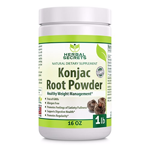 (Herbal Secrets Konjac Root Powder - 16 Oz (1 Lb) - (Non-GMO) - Alergy Free - Promotes Feeling of Satiety/Fullness - Supports Healthy Digestion* )