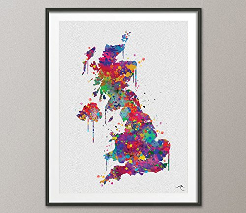 COCOMILLA United Kingdom Map, United Kingdom WaterFarbe, Abstrakte Karte, UK Karte, Großbritannien Karte, England Karte, Englisch Home Decor, Wand hanging-920, Mehrfarbig, 33.10 x 46.80 B0784V3M9M | König der Quantität