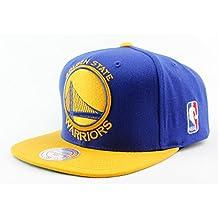 Golden State Warriors NBA Mitchell & Ness Authentic XL Logo 2T Snapback Hat OSFM Blue Yellow Cap