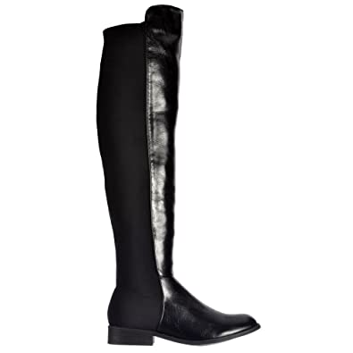 6ef08488767 Onlineshoe Women's Wide Calf Stretch Over The Knee Thigh High Flat Riding  Boot