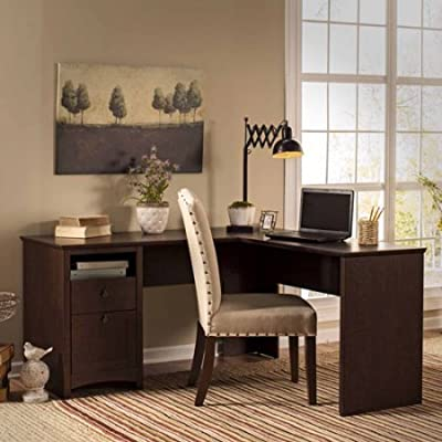 Amazon.com: L Shaped Wood Desk, Large Work Space, Open and ...