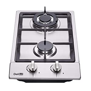 DeliKit DK223-A01 12 inch gas cooktop gas hob stovetop 2 burners LPG/NG Dual Fuel 4 Sealed Burners Stainless Steel Built-In gas hob 110V AC pulse ignition gas cooktop gas stove