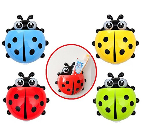 Dorlaer New Lovely Creative Cute Cartoon Ladybug Kids Wall Suction Cup Mount Toothbrush Holder Container Box Organizer Pocket Bathroom Stuff 4 Pcs (Blue/Yellow/Red/Green)