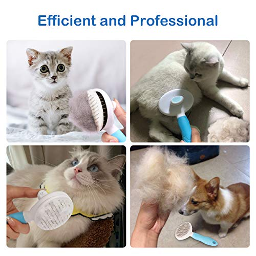 MENNYO Dog Brush, Cat Brush, Self Cleaning Slicker Brush for shedding, Professional Pet Grooming Comb for Long/Short Hair - Removes 95% of Dead Undercoat and Loose Hairs