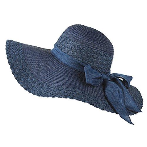 Brim Braid (Adults' Summer Lady Wide Brim Beach Straw Braid Sunshading Hat Bowknot Sweet Hat Navy-Blue)
