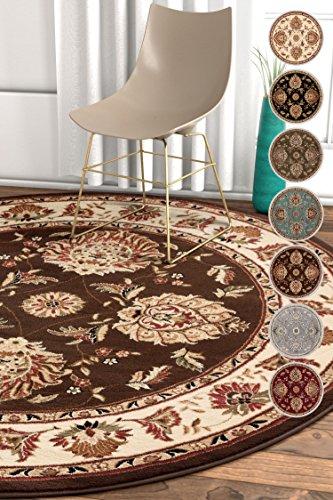Oriental Rug Brown Round (Well Woven Sultan Sarouk Brown Oriental 8 Round (7'10