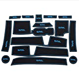 16 PCS Blue and Black Rubber Non-slip Interior Door Mat Cup Mat for Chevrolet Sail 2015