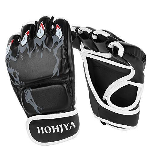 MMA Gloves Half Finger Boxing Fight Gloves MMA Mitts with Adjustable Wrist Band for Men Women Knuckle Protection for…