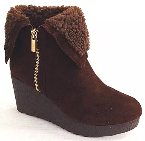 Cuff Suede Booties - Bamboo Crepe Women's Faux Fur Cuff Down Side Zipper Platform Ankle Booties (8.5, BRNFS)