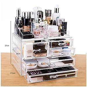 Amazon.com: Cq acrylic Large 5 Drawers and 9 Grid Makeup Organizer ...